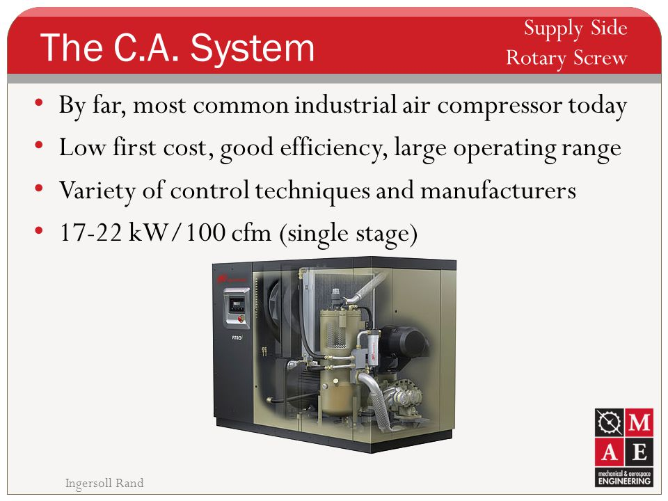 The C.A. System By far, most common industrial air compressor today