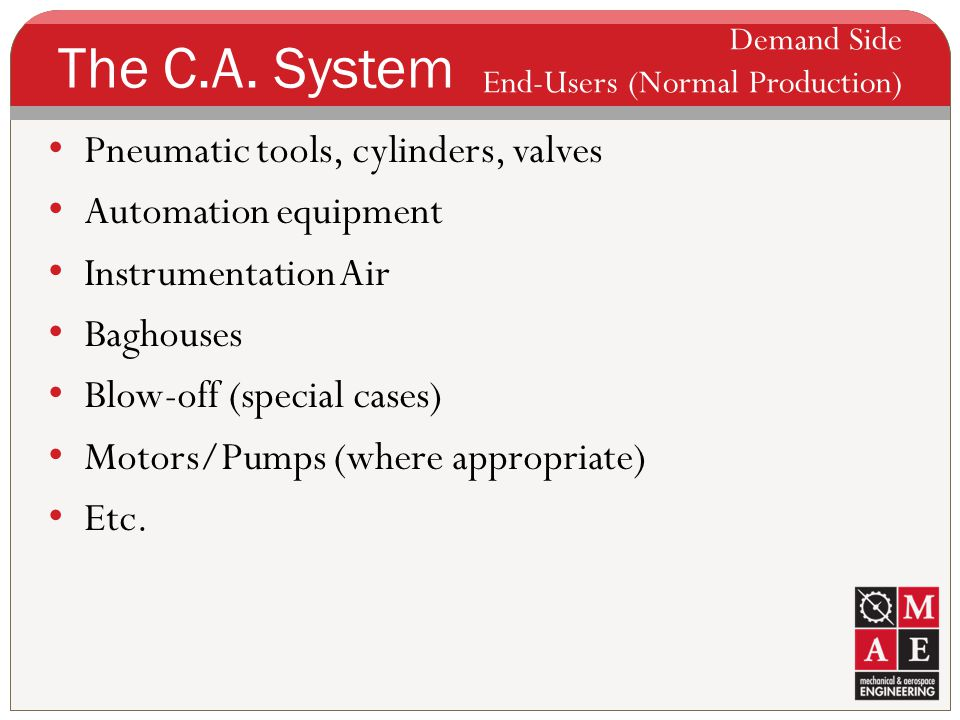 The C.A. System Pneumatic tools, cylinders, valves