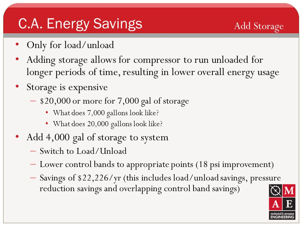 C.A. Energy Savings Add Storage Only for load/unload
