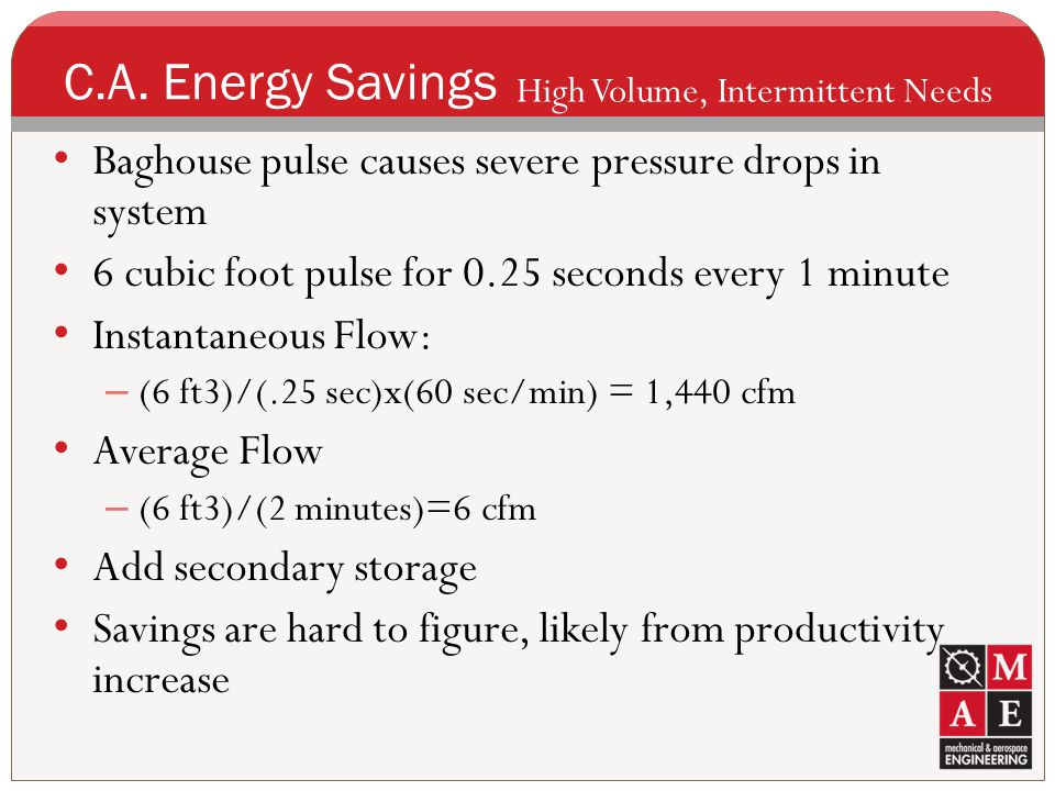 C.A. Energy Savings High Volume, Intermittent Needs. Baghouse pulse causes severe pressure drops in system.