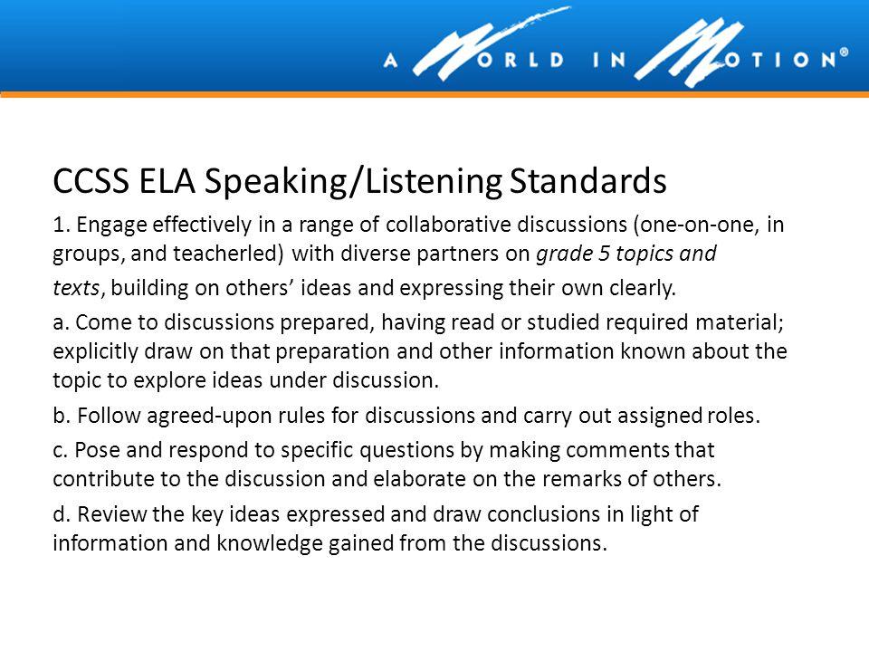 CCSS ELA Speaking/Listening Standards