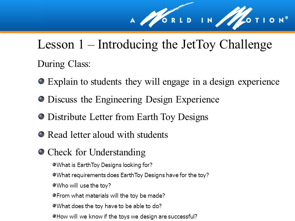 Lesson 1 – Introducing the JetToy Challenge