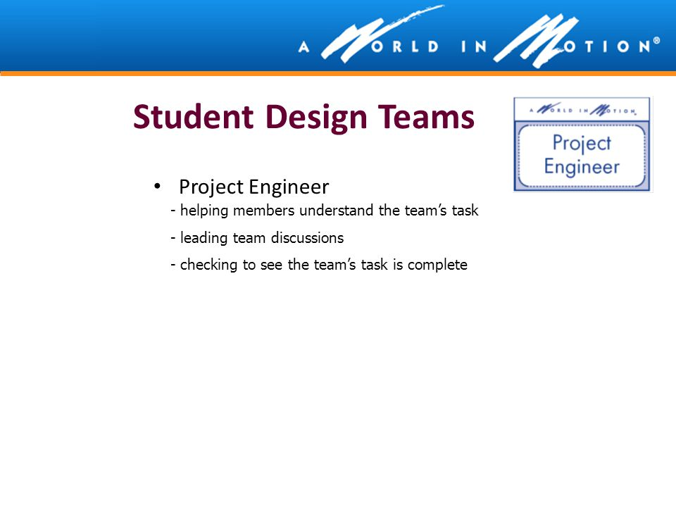 Student Design Teams Project Engineer