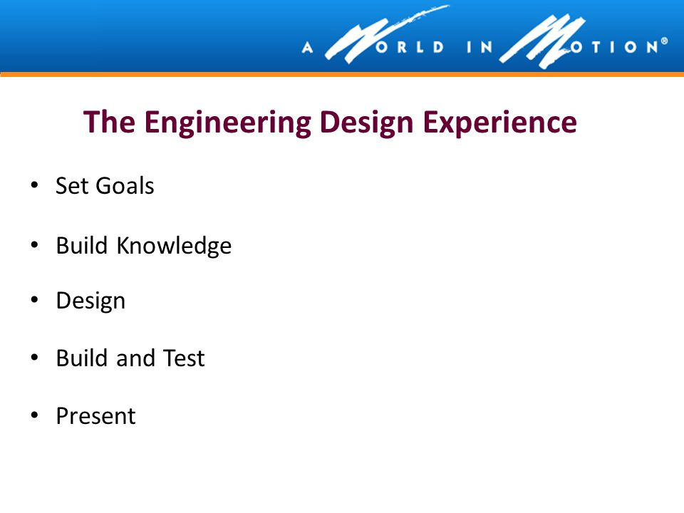 The Engineering Design Experience