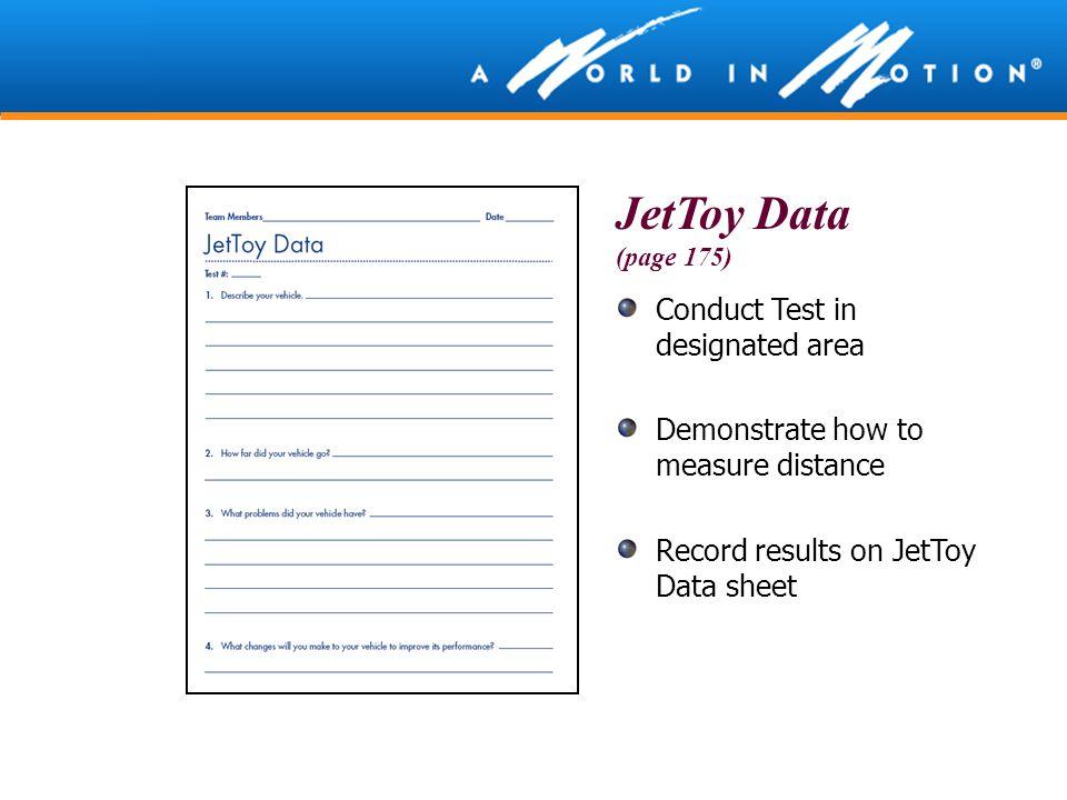 JetToy Data Conduct Test in designated area