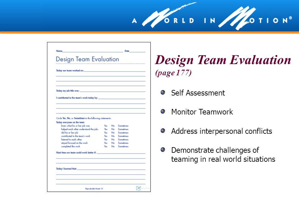 Design Team Evaluation