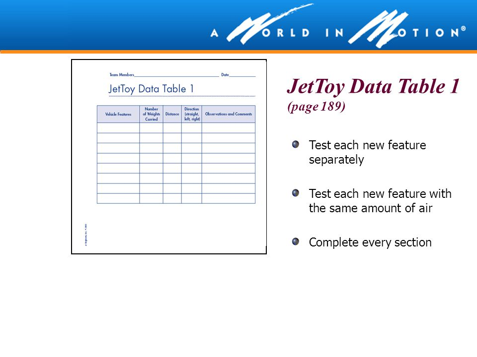 JetToy Data Table 1 (page 189)