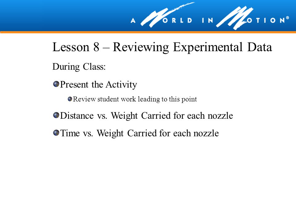 Lesson 8 – Reviewing Experimental Data