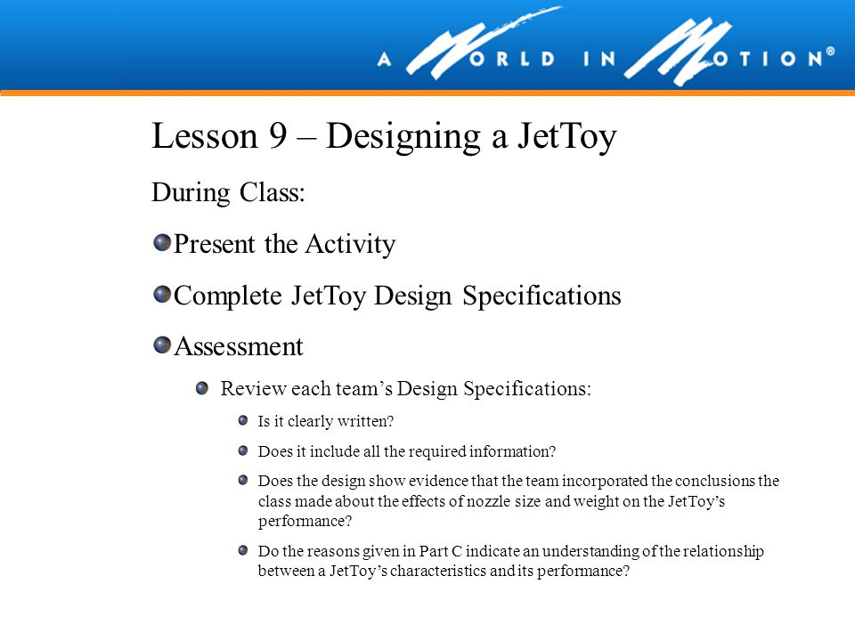 Lesson 9 – Designing a JetToy