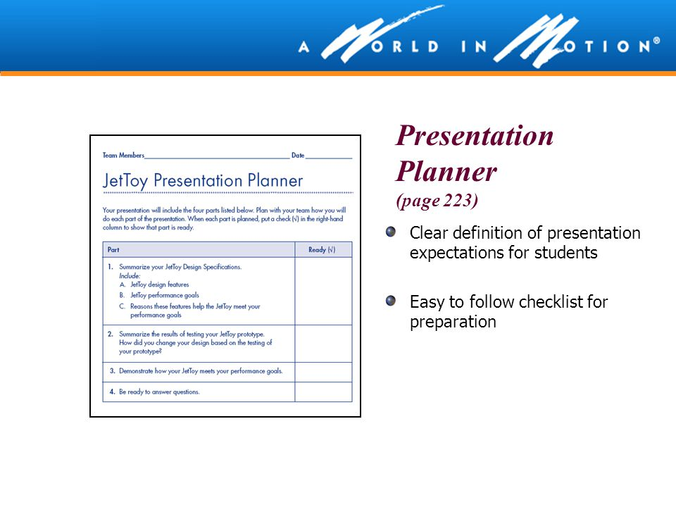Presentation Planner (page 223)