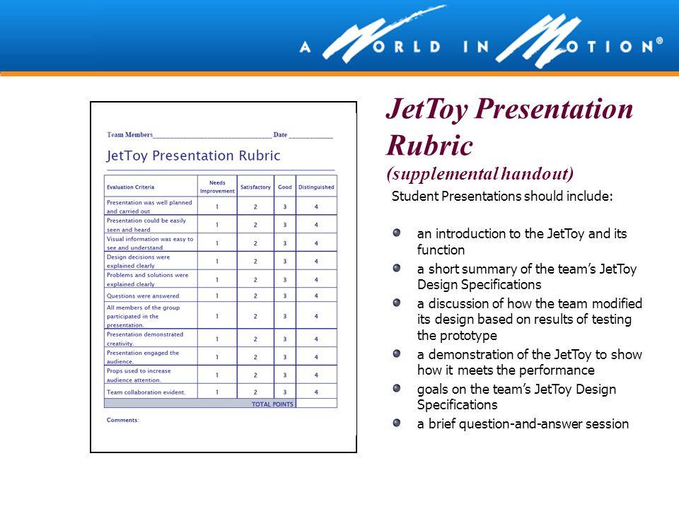 JetToy Presentation Rubric (supplemental handout)
