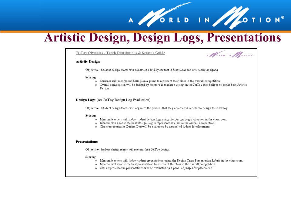 Artistic Design, Design Logs, Presentations