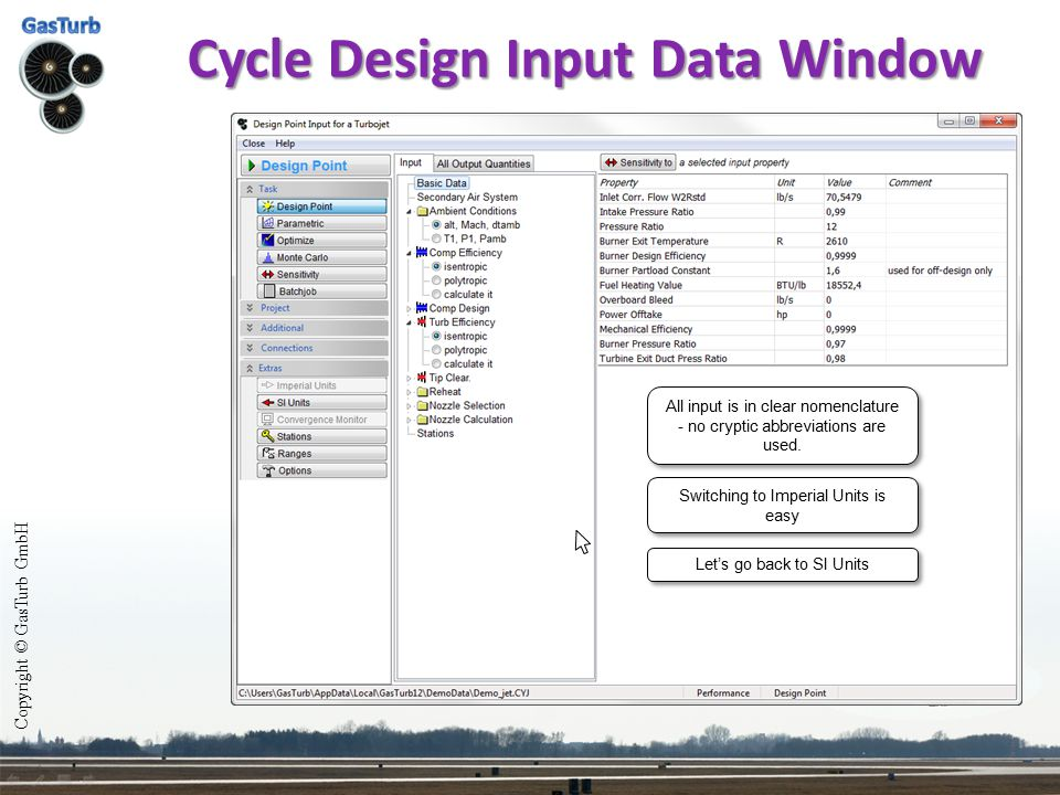 Cycle Design Input Data Window