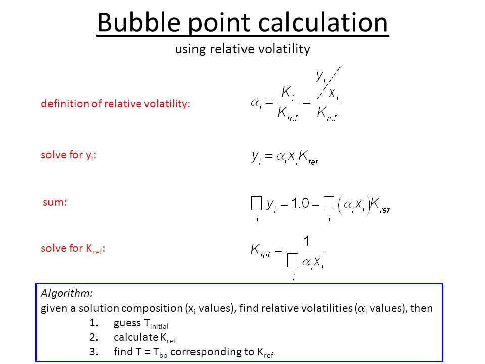 Bubble point calculation using relative volatility