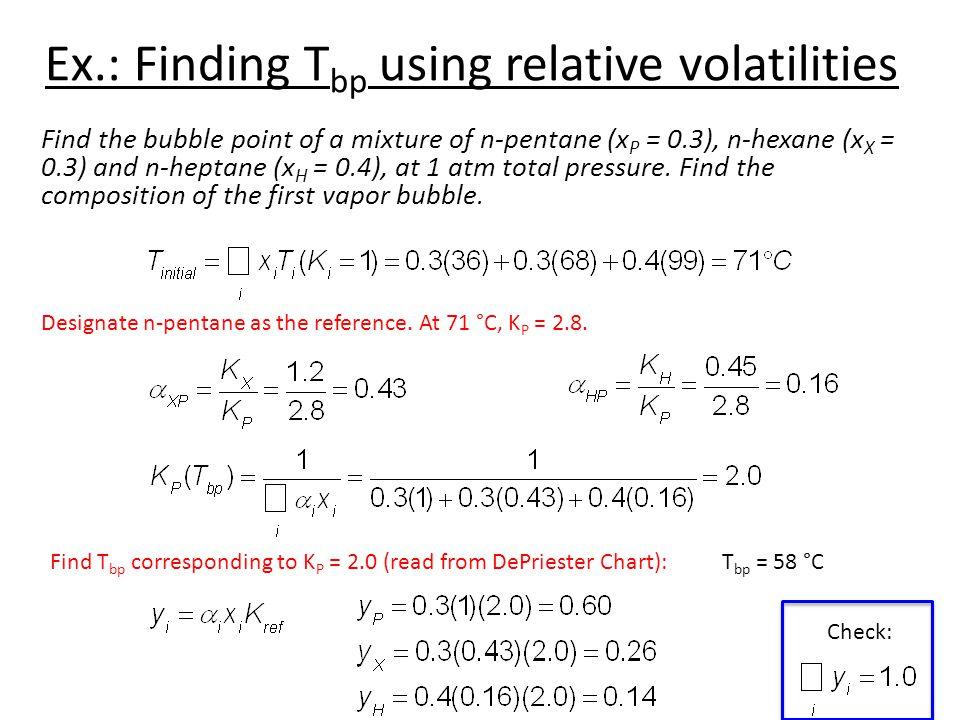 Ex.: Finding Tbp using relative volatilities