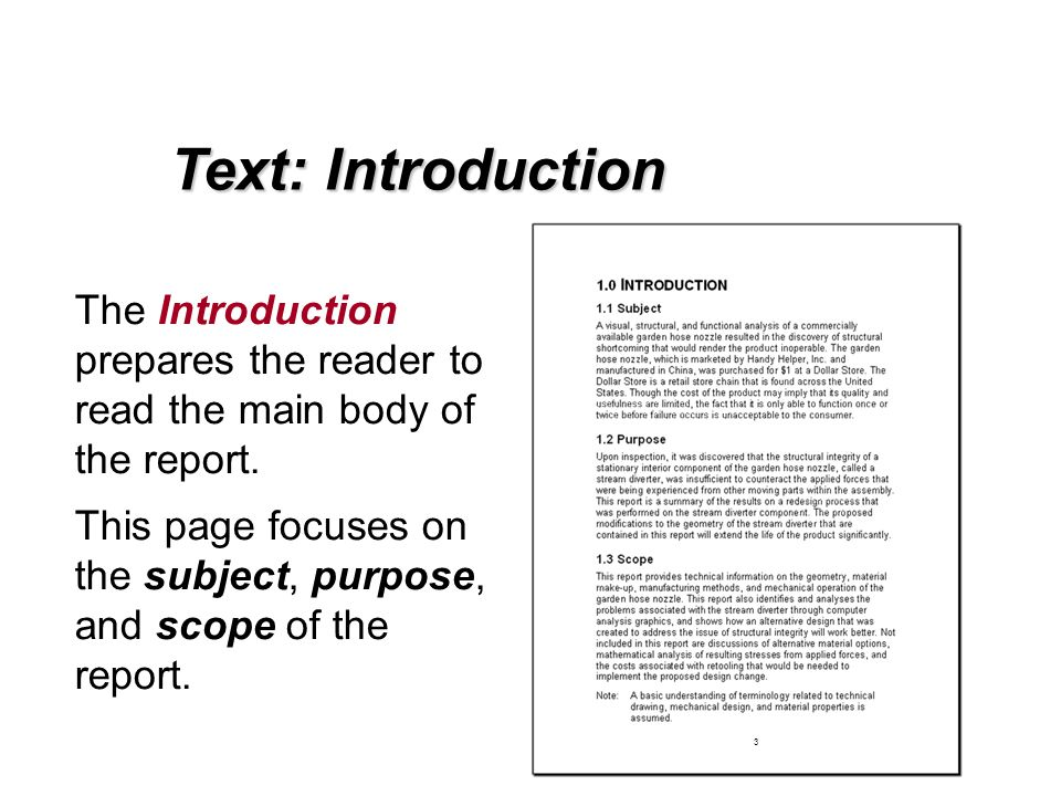 How to write an introduction for a project report