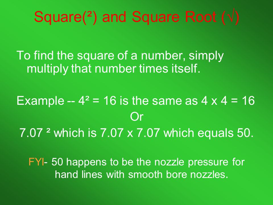 Square(²) and Square Root (√)