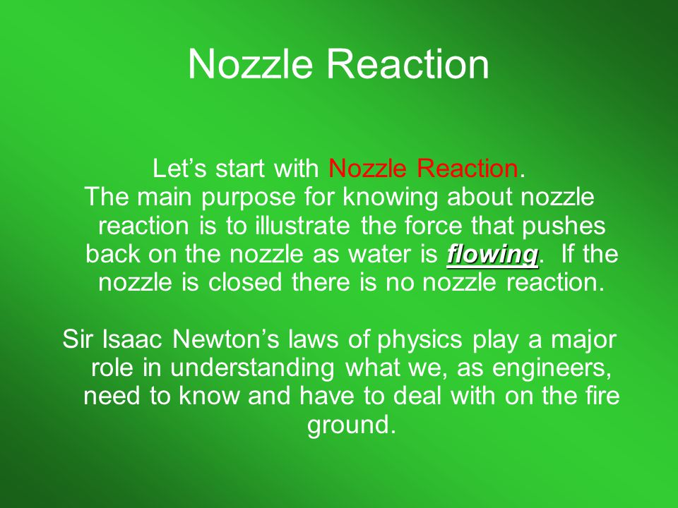 Let's start with Nozzle Reaction.
