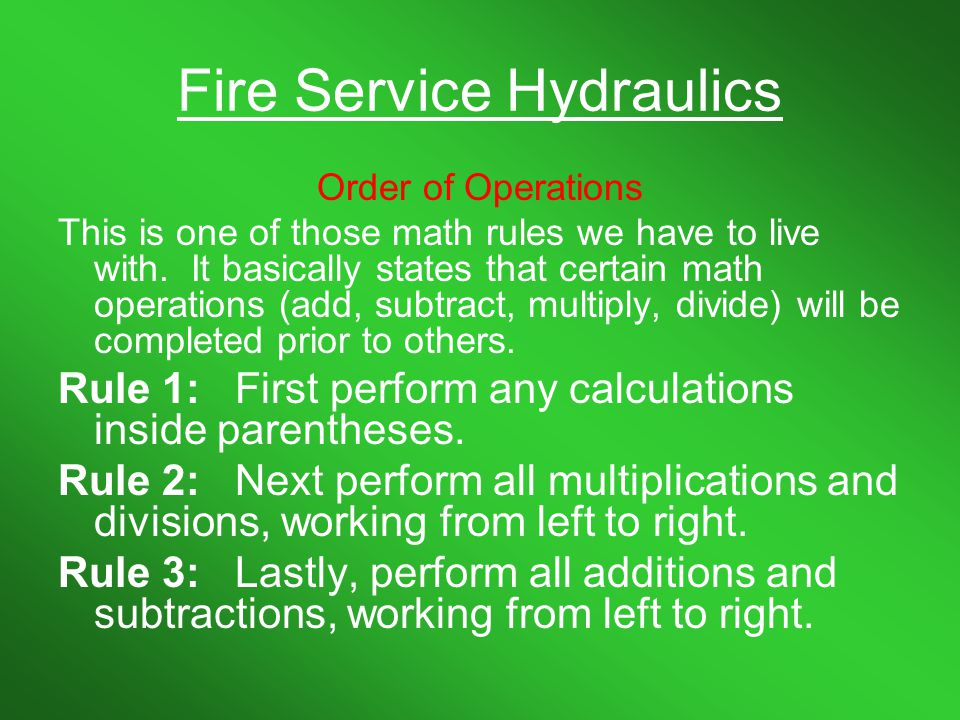 Fire Service Hydraulics