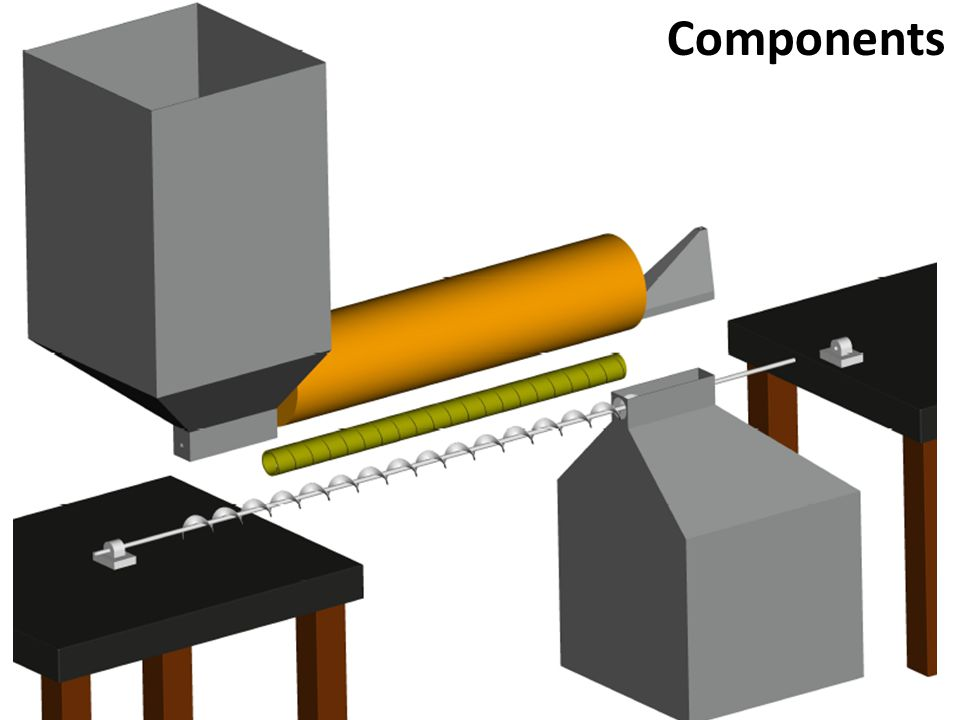 Components The exploded view displays the assembly of the auger, tube, insulation, hopper, and separator.