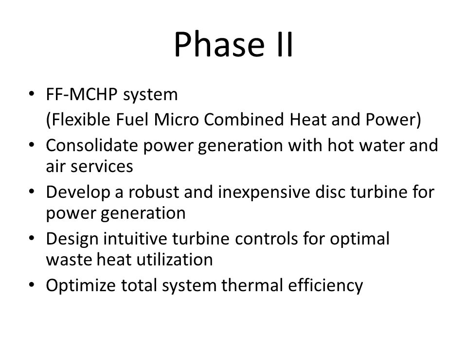 Phase II FF-MCHP system (Flexible Fuel Micro Combined Heat and Power)
