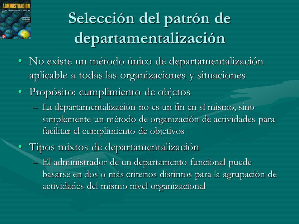 Selección del patrón de departamentalización