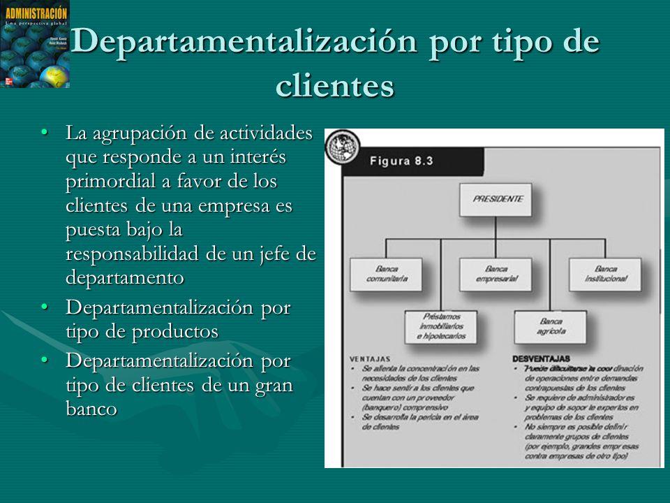 Departamentalización por tipo de clientes