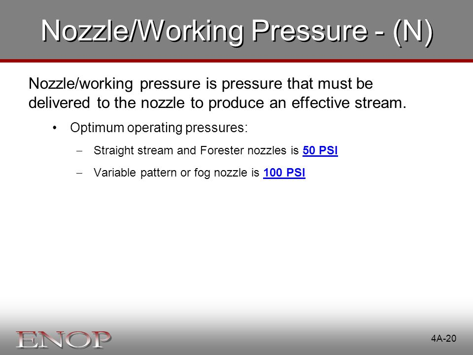 Nozzle/Working Pressure - (N)