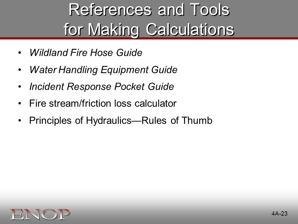 References and Tools for Making Calculations