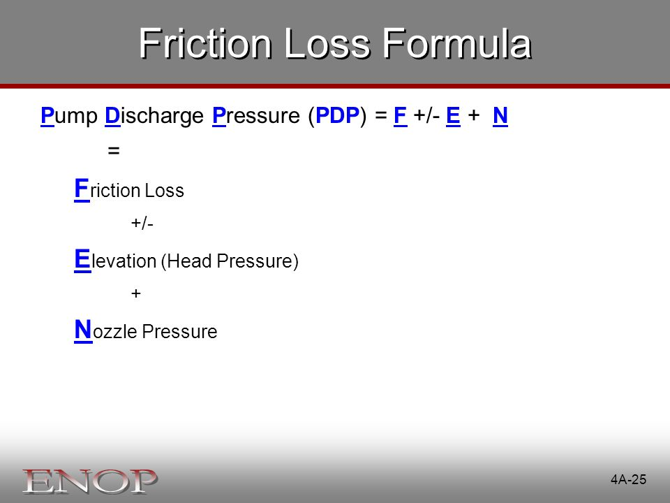 Friction Loss Formula Friction Loss Elevation (Head Pressure)