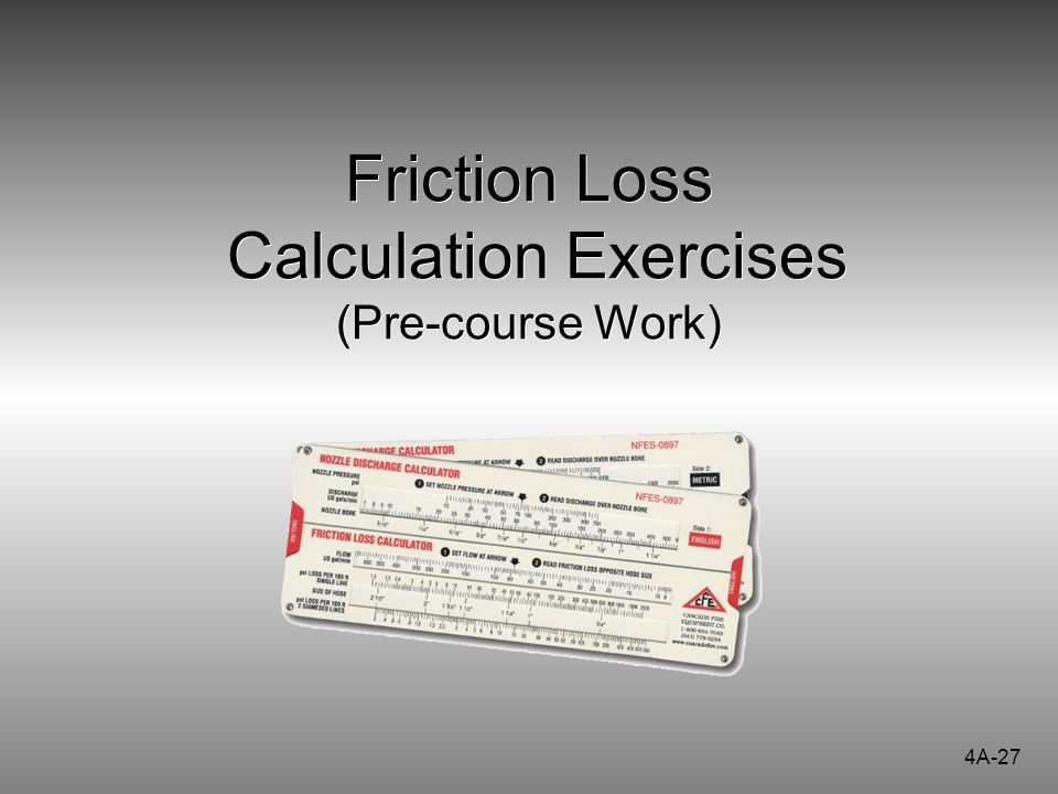Friction Loss Calculation Exercises (Pre-course Work)