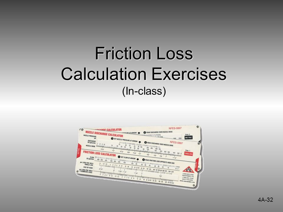 Friction Loss Calculation Exercises (In-class)