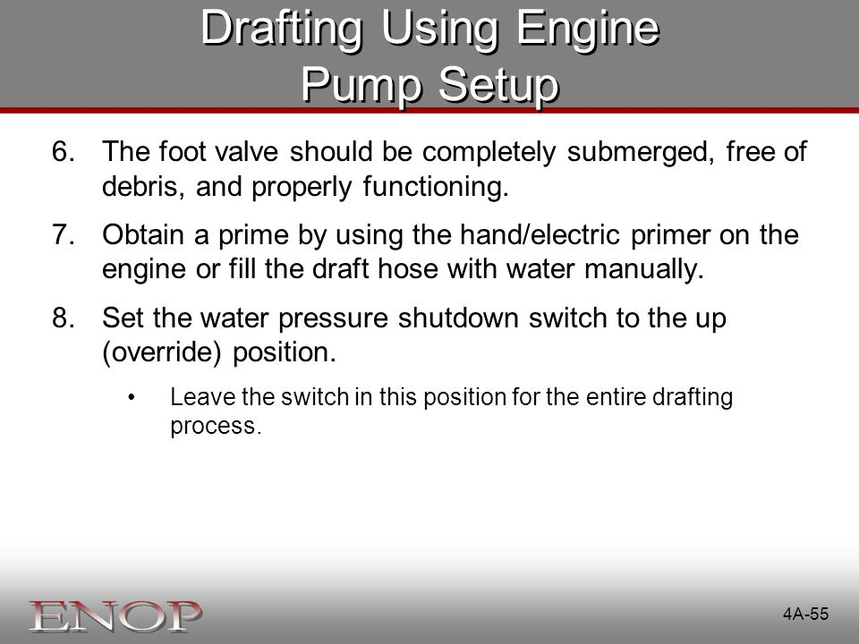 Drafting Using Engine Pump Setup