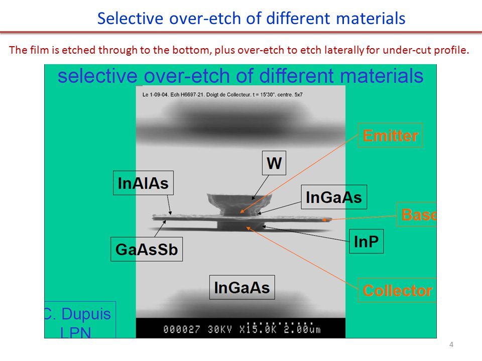 Selective over-etch of different materials