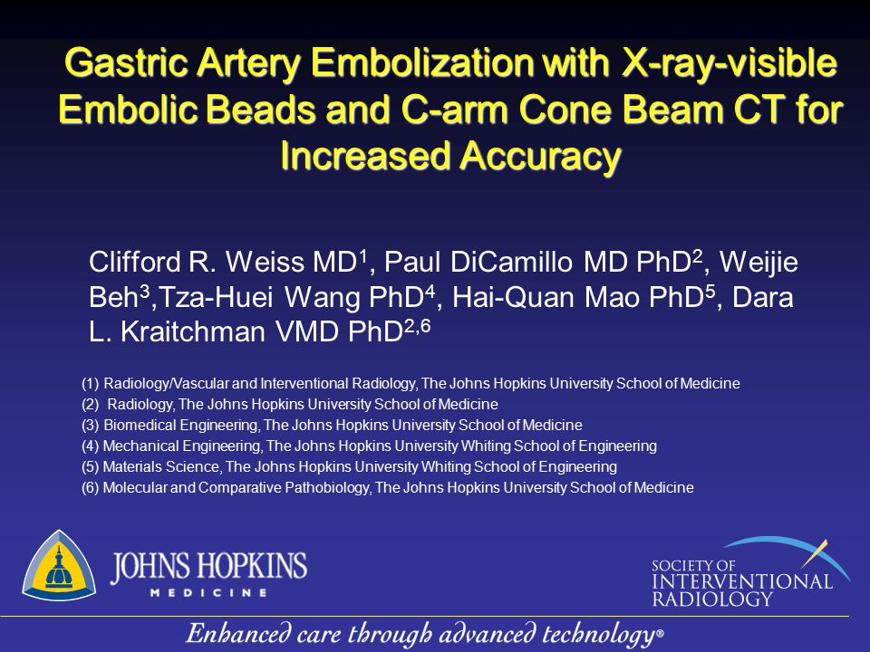 Gastric Artery Embolization with X-ray-visible Embolic Beads and C-arm Cone Beam CT for Increased Accuracy