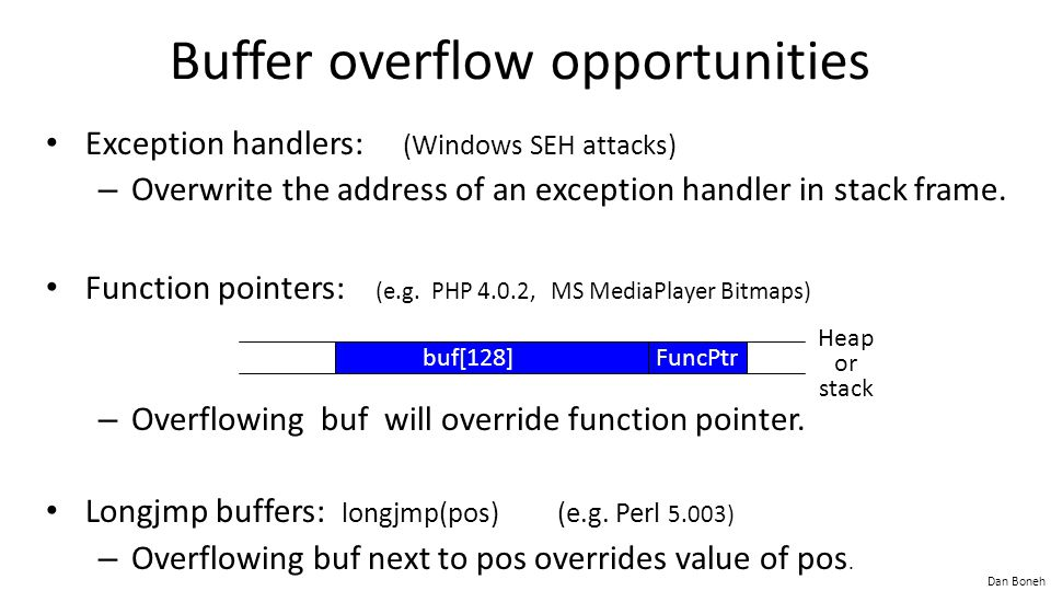 Buffer overflow opportunities