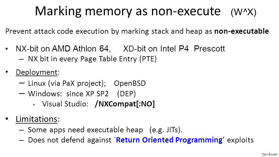 Marking memory as non-execute (W^X)