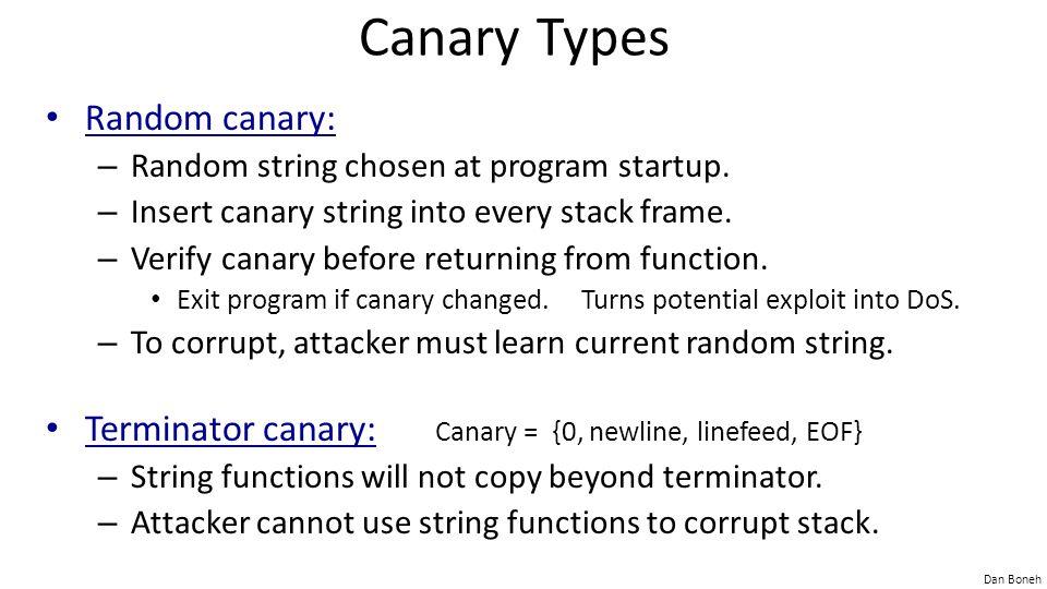 Canary Types Random canary: