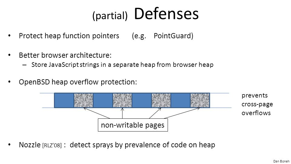 (partial) Defenses Protect heap function pointers (e.g. PointGuard)