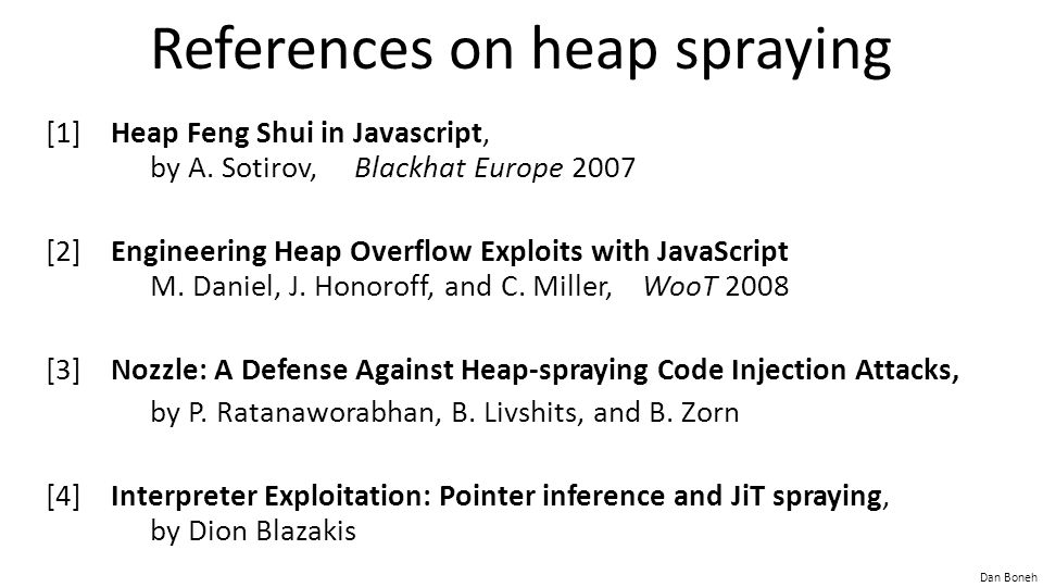References on heap spraying