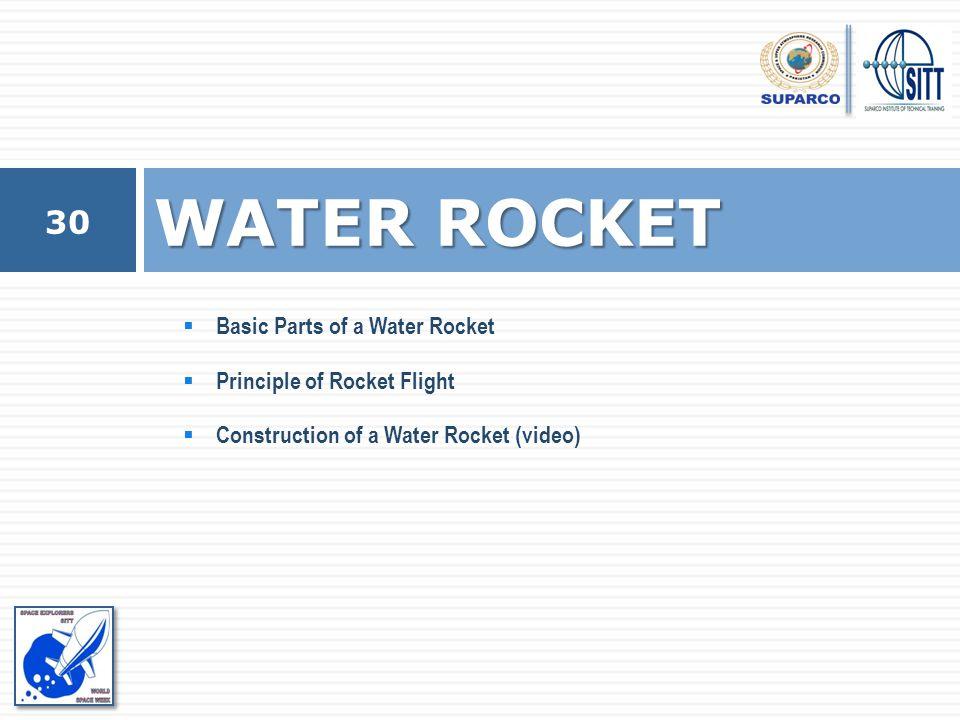 WATER ROCKET Basic Parts of a Water Rocket Principle of Rocket Flight