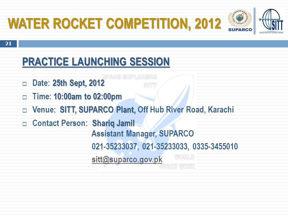 WATER ROCKET COMPETITION, 2012