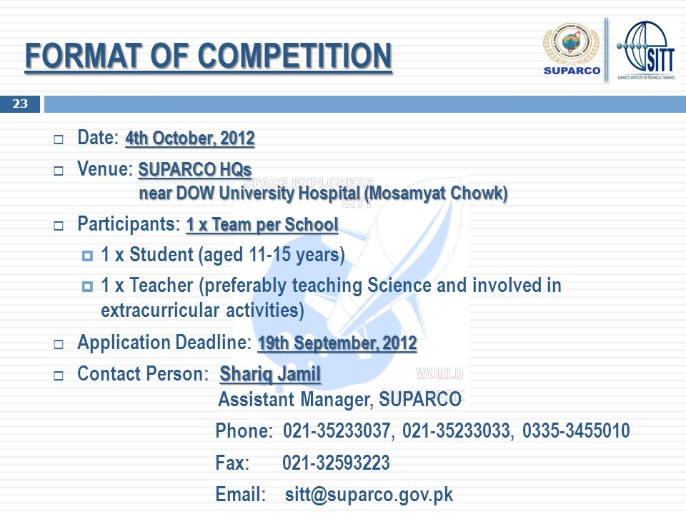 FORMAT OF COMPETITION Date: 4th October, 2012