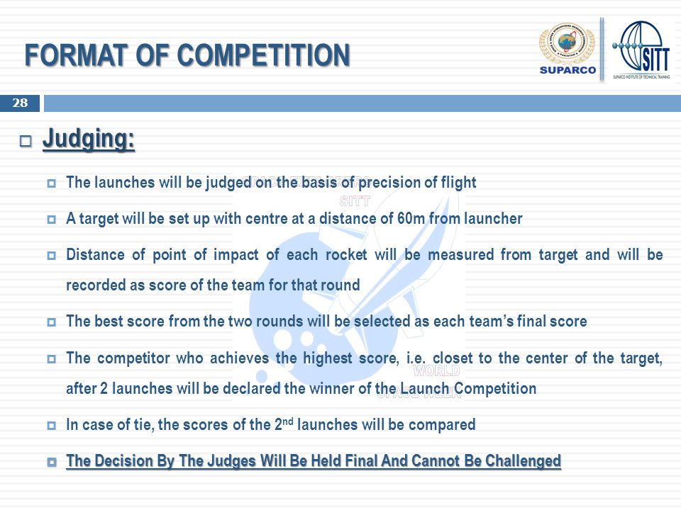 FORMAT OF COMPETITION Judging: