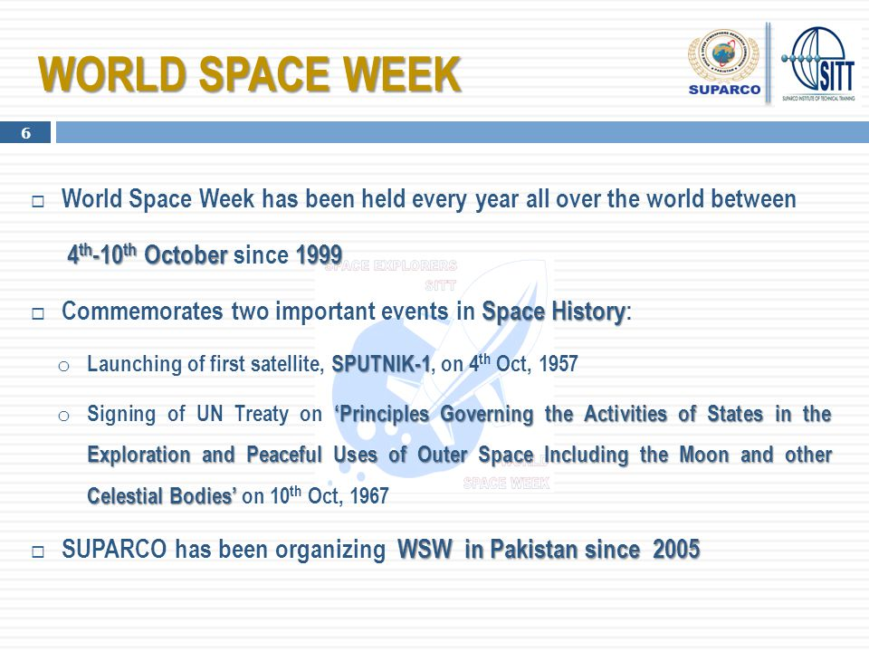 WORLD SPACE WEEK World Space Week has been held every year all over the world between. 4th-10th October since 1999.