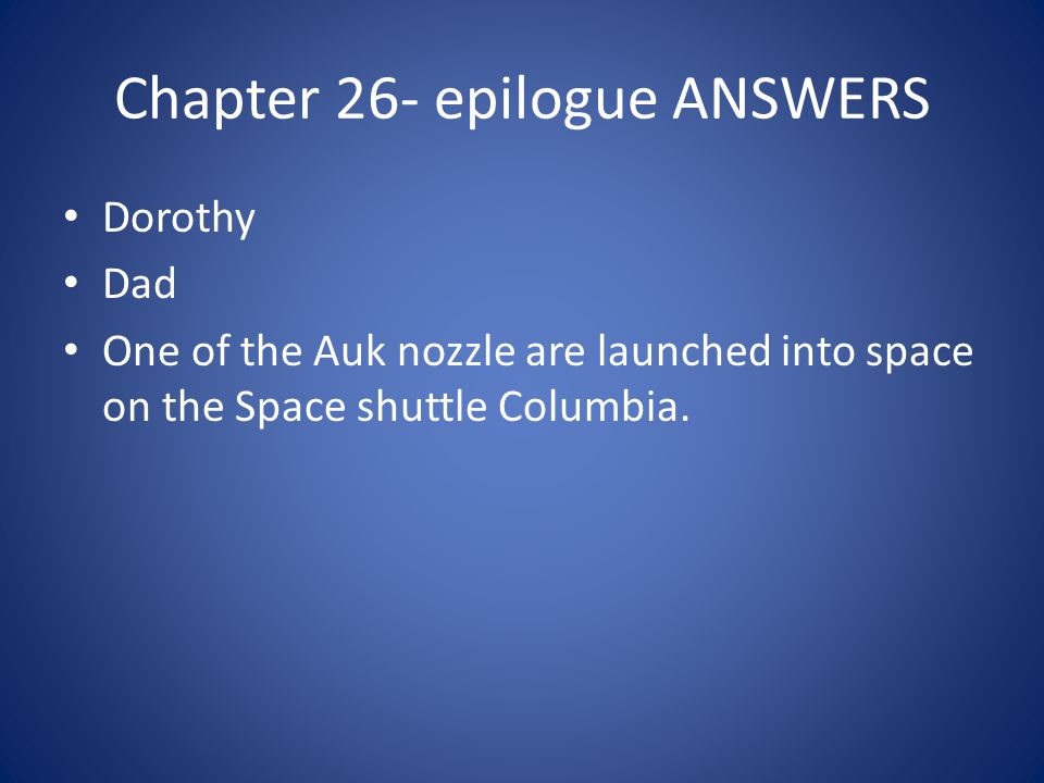 Chapter 26- epilogue ANSWERS