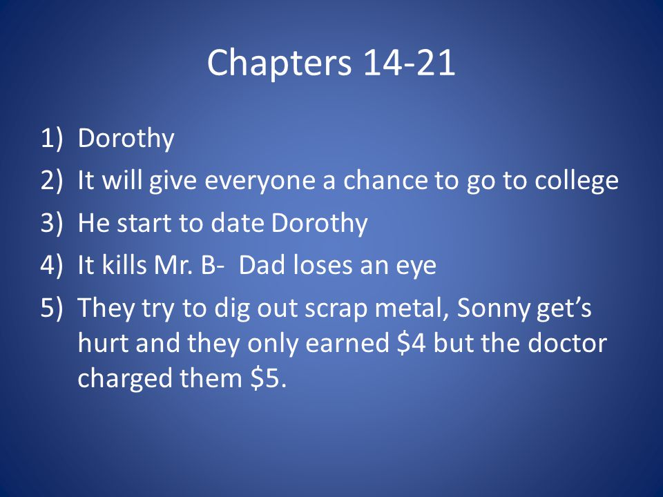 Chapters 14-21 Dorothy It will give everyone a chance to go to college