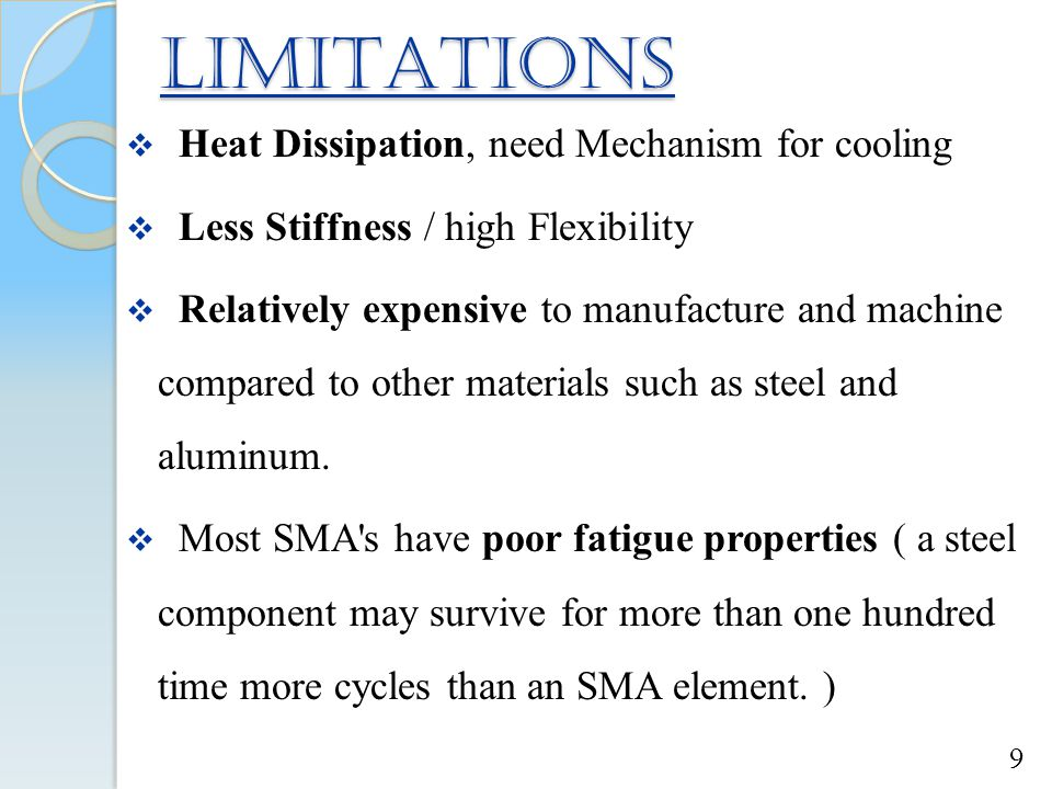 LIMITATIONS Heat Dissipation, need Mechanism for cooling