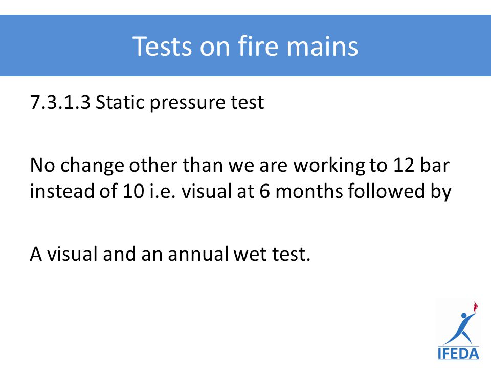 Tests on fire mains