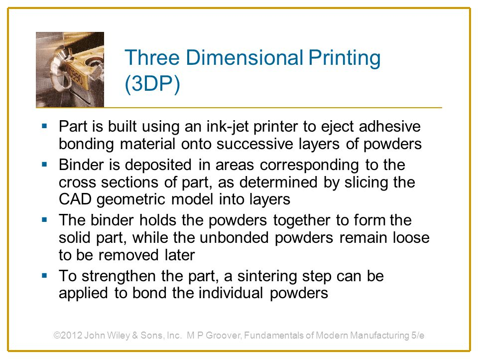 Three Dimensional Printing (3DP)
